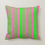 [ Thumbnail: Lime & Hot Pink Pattern of Stripes Throw Pillow ]