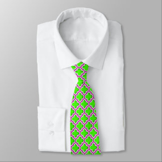 Lime, Hot Pink, White Moroccan Quatrefoil #5DS Tie