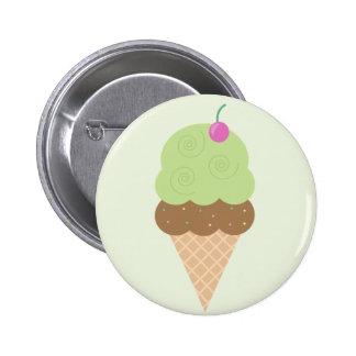 Lime Ice Cream Cone 2 Inch Round Button