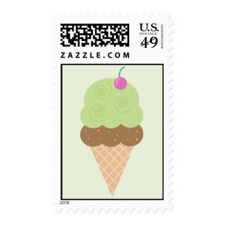 Lime Ice Cream Cone Stamp