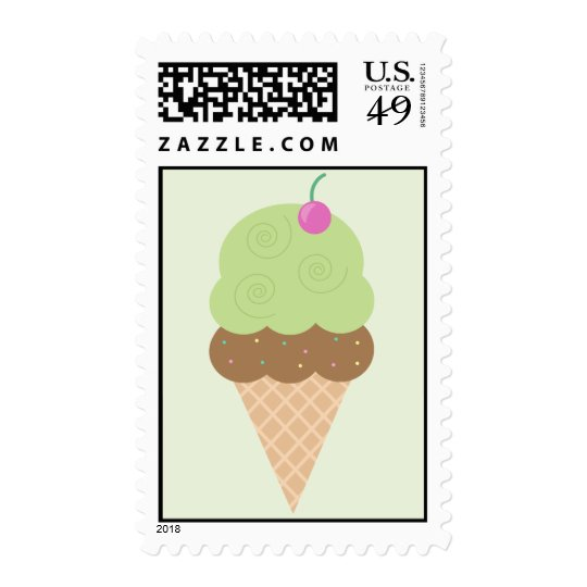 Lime Ice Cream Cone Postage