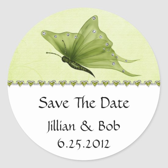 Lime Jewel Hearts Purple Butterfly Save The Date Classic Round Sticker