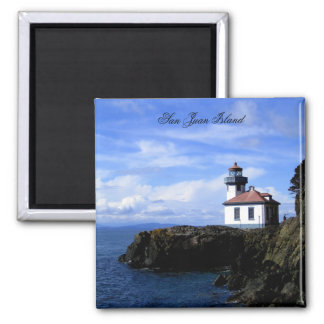 Lime Kiln Lighthouse 2 Inch Square Magnet