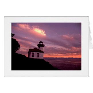 Lime Kiln Lighthouse San Juan Islands Sunset Card
