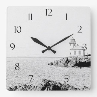 Lime Kiln Lighthouse Square Wall Clock