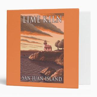 Lime Kiln Lighthouse Vintage Travel Poster 3 Ring Binder