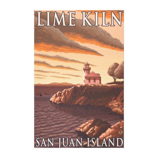 Lime Kiln Lighthouse Vintage Travel Poster Canvas Print