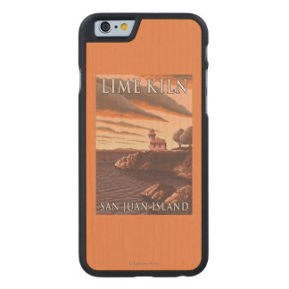Lime Kiln Lighthouse Vintage Travel Poster Carved® Maple iPhone 6 Case