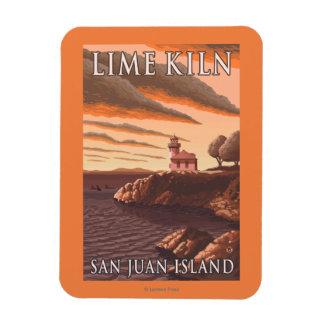 Lime Kiln Lighthouse Vintage Travel Poster Magnet
