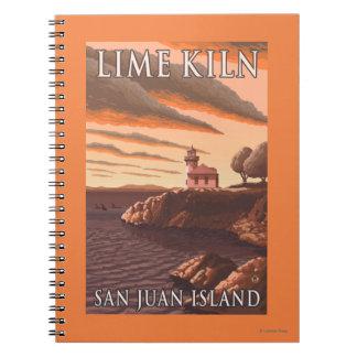 Lime Kiln Lighthouse Vintage Travel Poster Notebook