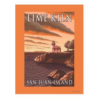 Lime Kiln Lighthouse Vintage Travel Poster Postcard