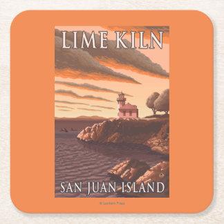 Lime Kiln Lighthouse Vintage Travel Poster Square Paper Coaster