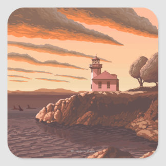 Lime Kiln Lighthouse Vintage Travel Poster Square Sticker