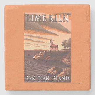 Lime Kiln Lighthouse Vintage Travel Poster Stone Coaster