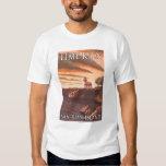 Lime Kiln Lighthouse Vintage Travel Poster Tshirt