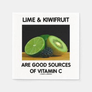 Lime & Kiwifruit Are Good Sources Of Vitamin C Napkin