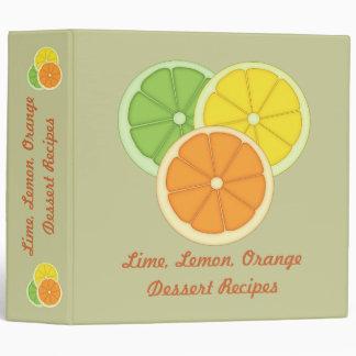 Lime, Lemon and Orange Recipe Binder