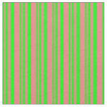 [ Thumbnail: Lime & Light Coral Lined Pattern Fabric ]