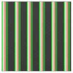 [ Thumbnail: Lime, Light Yellow, Salmon, Green & Black Stripes Fabric ]