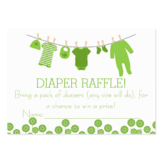 Lime Little Clothes Diaper Raffle Tickets Large Business Cards (Pack Of 100)