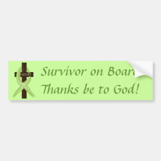Lime Lymphoma Awareness Ribbon on a Cross Bumper Sticker