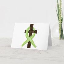 Lime Lymphoma Awareness Ribbon on a Cross Card