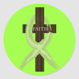 Lime Lymphoma Awareness Ribbon on a Cross Classic Round Sticker