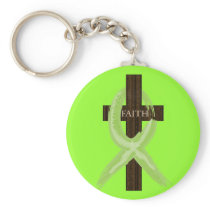 Lime Lymphoma Awareness Ribbon on a Cross Keychain