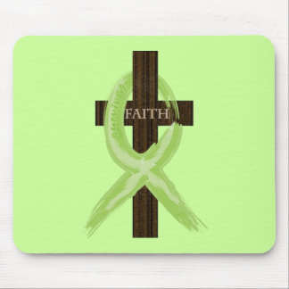 Lime Lymphoma Awareness Ribbon on a Cross Mouse Pad