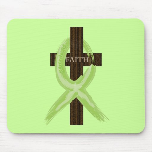 Lime Lymphoma Awareness Ribbon on a Cross Mouse Pads