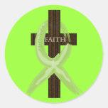 Lime Lymphoma Awareness Ribbon on a Cross Round Sticker