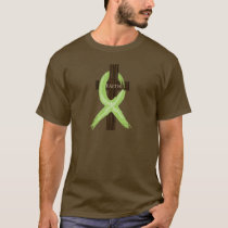 Lime Lymphoma Awareness Ribbon on a Cross T-Shirt