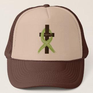 Lime Lymphoma Awareness Ribbon on a Cross Trucker Hat