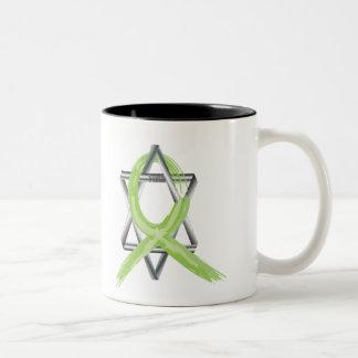 Lime Lymphoma Cancer Survivor Ribbon Two-Tone Coffee Mug