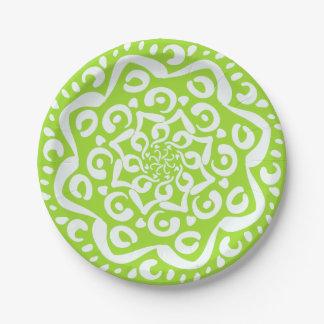 Lime Mandala Paper Plate