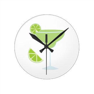 Lime Margarita Round Wall Clocks