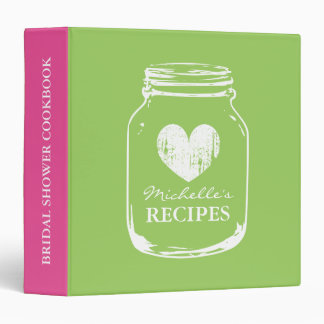 Lime mason jar bridalshower cookbook recipe binder