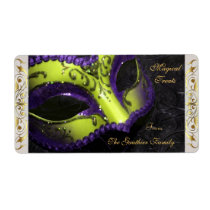 Lime Masquerade Mask  Halloween Baking Label Shipping Label