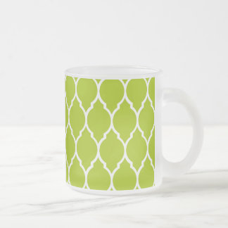Lime Modern Quatrefoil Pattern Frosted Glass Coffee Mug