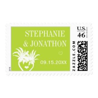 Lime Modern Vintage Typography Chalkboard Wedding Postage Stamps
