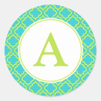 Lime Monogram Stickers