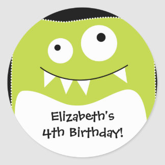 Lime Monster Bash Birthday Sticker