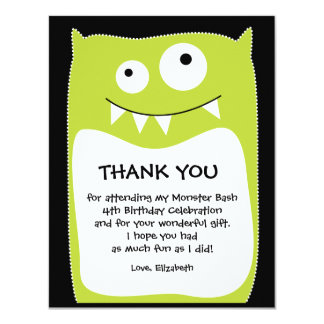 Lime Monster Bash Thank You Card (Flat) Invitations