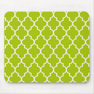 Lime Moroccan Quatrefoil Pattern Mouse Pad