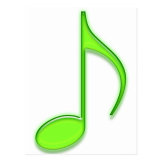 Lime Music Note Postcard