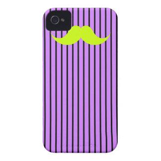 Lime Mustache Stripes Purple iPhone 4 Case-Mate Case