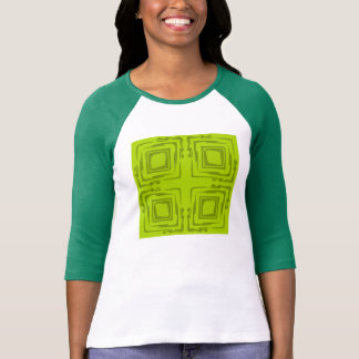 Lime n White Ladies Three-Quarter Sleeve T-Shirt
