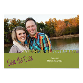 Lime NAME 5x7 Photo Save the Date Wedding Cards