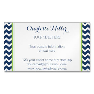 Lime Navy Blue Chevron Magnetic Business Card Magnetic Business Cards (Pack Of 25)