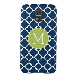 Lime & Navy Geometric Pattern Custom Monogram Galaxy S5 Covers